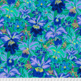 Philip Jacobs PWPJ092 Orchids Blue Cotton Quilting Fabric By Yard