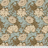 Morris & Co. Merton PWWM009 Chrysanthemum Aqua Cotton Fabric By Yd