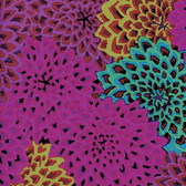 Kaffe Fassett GP54 Dahlia Blooms Fig Cotton Fabric By The Yard