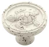 "PBF656-254 1 3/8"" Vintage White Seaside Cottage Turtle Cabinet Knob 5 PACK"