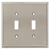 Brainerd W35313-SN Simple Step Double Switch Cover Plate Satin Nickel