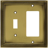 Hampton Bay W10604-ABT Tumbled Antique Brass Beaded Switch / GFCI Cover Plate