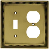 Hampton Bay W10449-ABT Tumbled Antique Brass Beaded Switch / Duplex Cover Plate
