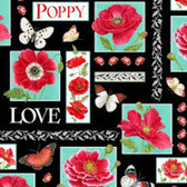 Henry Glass 1190 Poppy Perfection Poppy Patchwork Quilting Fabric By Yd