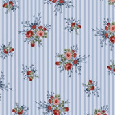 Henry Glass 8849 Flowers Of Provence Blue Striped Calico Quilting Fabric By Yd