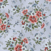 Henry Glass 8848 Flowers Of Provence Lt Blue Master Floral Quilting Fabric By Yd