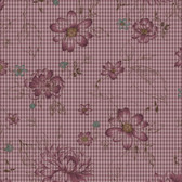 Henry Glass 8918 My Back Porch Check Flowers Purple Quilting Fabric By Yd