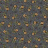Henry Glass 8919 My Back Porch Tossed Sunflowers Blue Quilting Fabric By Yd