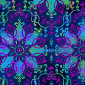 Studio E 3914-77 Aflutter Floral Medallion Indigo Cotton Quilting Fabric By Yd