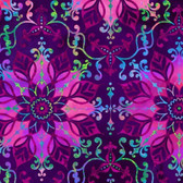 Studio E 3914-55 Aflutter Floral Medallion Purple Cotton Quilting Fabric By Yd