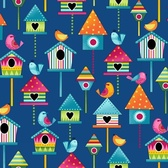 Studio E 3943-77 Sunshine Kisses Birdhouses Dk Blue Quilting Fabric By Yard