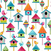 Studio E 3943-10 Sunshine Kisses Birdhouses White Quilting Fabric By Yard