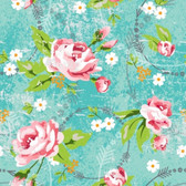 Blank Quilting B9099-72 Roses & Arrows Lg Rose Print Teal Cotton Fabric By Yard