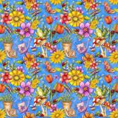 Blank Quilting 8680-77 Garden Glory Garden Allover Blue Cotton Fabric By Yard