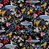 Blank Quilting 9008-99 Birds Of A Feather Bird Baths Black Fabric By Yard