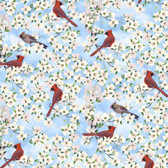 Blank Quilting 9005-11 Birds Of A Feather Cardinals Lt Blue Fabric By Yard
