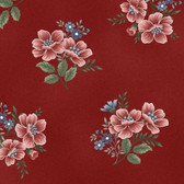Henry Glass 8853-88 Flowers Of Provence Med Flower Toss Red Cotton Fabric By Yd