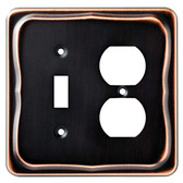 144413 Tenley Bronze & Copper Single Switch Duplex Outlet Cover Wall Plate