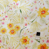 Dena Designs LIDF003 Sunshine Jasmine White Linen Fabric By Yard