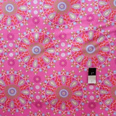 Dena Designs LIDF005 Sunshine Circle Medallion Pink Linen Fabric By Yard