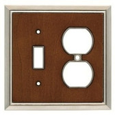 126475 Dk Caramel Wood & Satin Nickel Single Switch Single Duplex Cover Plate