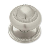 "PN0401-SN Satin Nickel 1 1/2"" Rope Edged w/ Backplate Cabinet Drawer Knob"