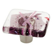 "142337 1 1/2"" Handmade Fused Glass Purple Confetti Cabinet Drawer Pull Knob"
