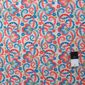 Victoria and Albert PWVA010 Garthwaite Scroll Teal Fabric By Yard