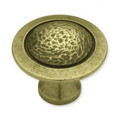 "PBF572Y-ABT 1 1/2"" Tumbled Antique Brass Rough Smooth Cabinet Drawer Knob"