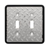 126370 Diamond Plate Double Switch Cover Plate