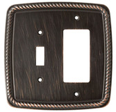 126396 Classic Rope Venetian Bronze Single Switch Single GFCI Cover Plate