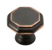 "PN0292M-VBC 1 1/8"" Octagon Bronze w/ Copper Cabinet Drawer Knob 2 Pack"