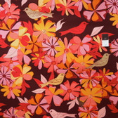 Valori Well LVW04 Jenaveve Floral Birds Merlot Linen Fabric By Yard