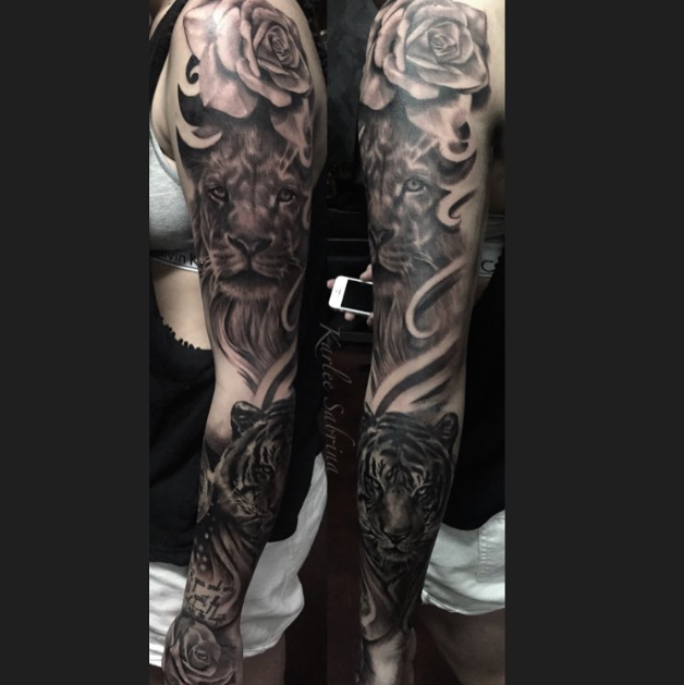Cartoon Tattoo Sleeve likewise Roxas Keyblades Photo further Big Forearm Tattoo further Horror Sleeve besides 10 Beautifully Badass Tattoos. on tattoos nightmare christmas
