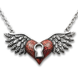 Red Winged Heart Necklace With Keyhole