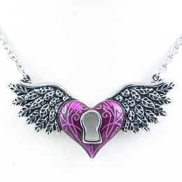 Purple Winged Heart Necklace With keyhole