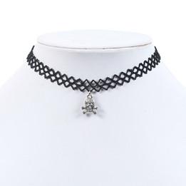 black lace chocker necklace with skull, cross bone
