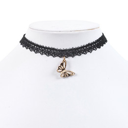 black lace chocker necklace with butterfly