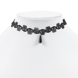 black lace chocker necklace with glass
