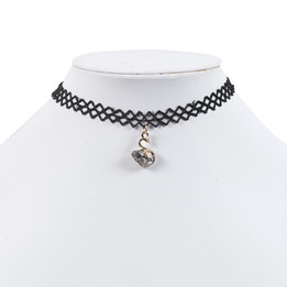black lace chocker necklace with swan