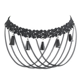 princess gothic tassel lace chocker necklace with web chain