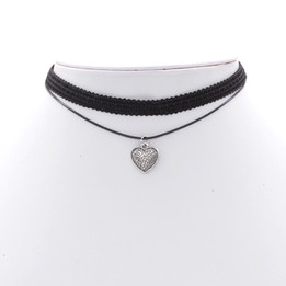 Black Double Imitation Leather lace choker necklace with heart