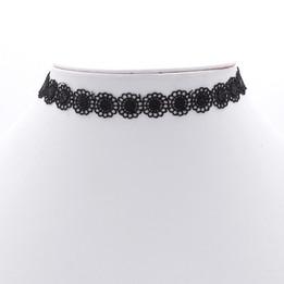 black round flower pattern choker necklace