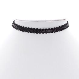 black plastic round flat flake lace necklace