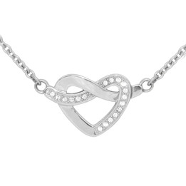 Glimmering Heart Knot Necklace