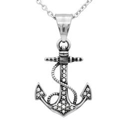 White CZ Anchor Necklace