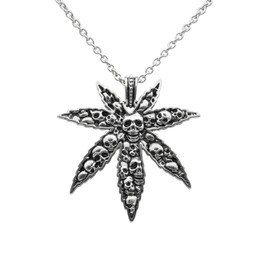 Marijuana Leaf and Skull Necklace