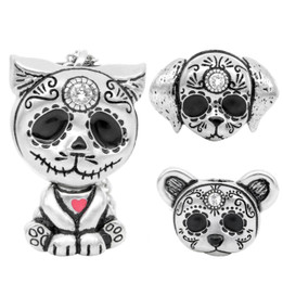 Day of the Dead Animal Necklace Interchangeable Sugar Skull Pendant - Heart