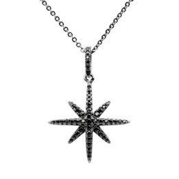 Starburst Necklace - Black Rhodium Plated Over Brass with Black Cubic Zirconia