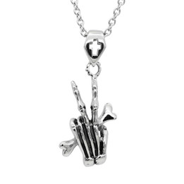 Punk Gothic Stainless steel Hand Bone Pendant Necklace